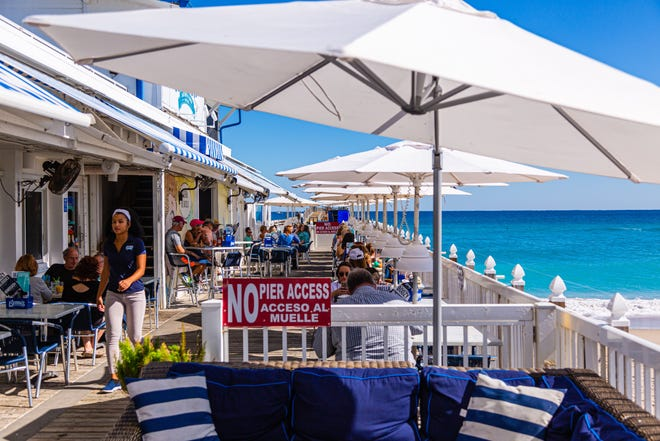 Ocean views: Benny's on the Beach is literally on the beach at Lake Worth Beach.