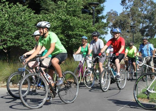 San Joaquin Bike Coalition ride group departs the University of Pacific campus.