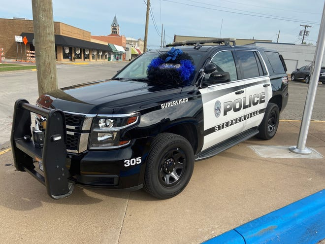 Sgt. Steven Watts' patrol vehicle is parked outside of the Stephenville Police Department for anyone wishing to leave messages or tokens of condolence or appreciation.