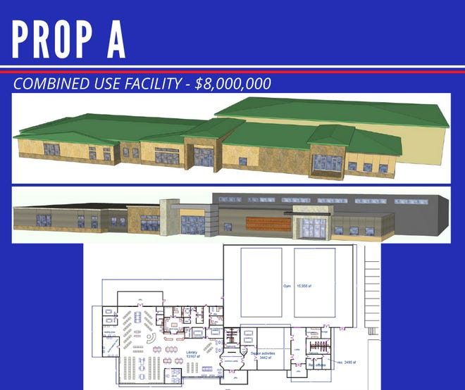 A rendering and layout map of the proposed combined use facility that would be funded by the passage of Proposition A.