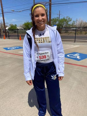 Stephenville High School's Jaylee Matthews qualified for state in the discus on Friday at the regional track meet held in Lubbock. She finished second with a distance of 128-02. Matthews also placed third with a time of 46.20 in the 300 hurdles to earn a medal in that event.