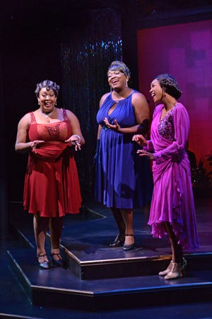 """From left Ariel Blue, Syreeta S. Banks and JoAnna Ford in a scene from the Westcoast Black Theatre Troupe's 2017 production of """"Broadway in Black,"""" which will be brought back in the new season."""