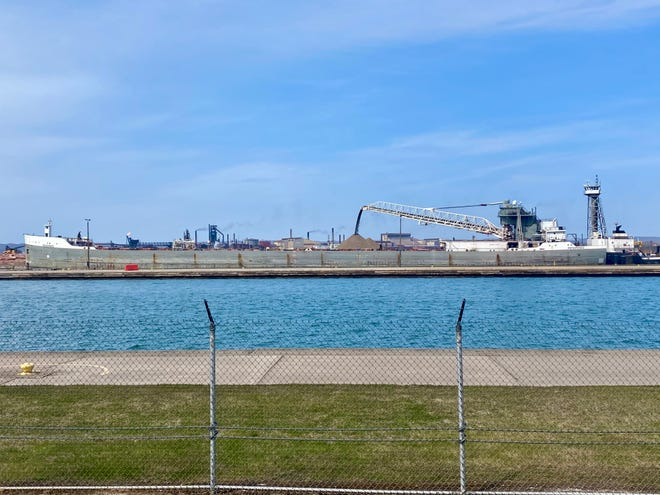 At 3 p.m. Friday afternoon, the Menominee, a bulk carrier, was unloading rock for Lock construction projects.