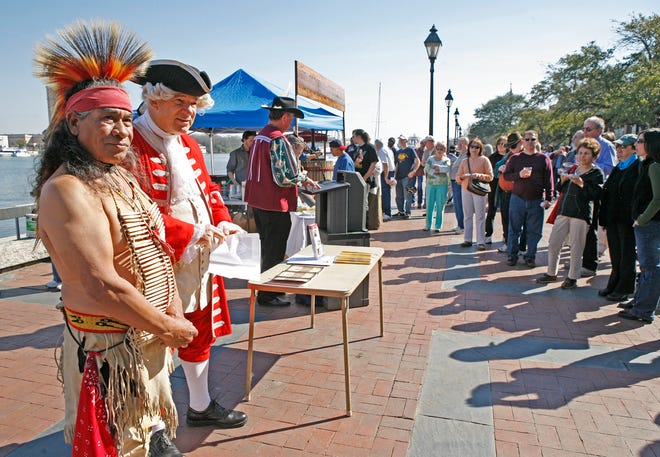 GT Martinez, playing Tomochichi, left, and Gordon Varnedoe, playing James Oglethorpe, appeared at the Rousakis Plaza, River Street for the 275th anniversary of the city of Savannah, in February 2008.