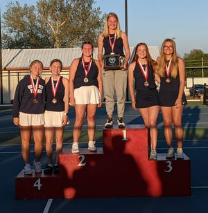 The Shawnee girls' tennis team finished second at the Duncan Tournament. Pictured from left to right are: Anna Jordan, Kylie Peters, Grace Bryant, Olivia Stobbe, Elise Diamond and Abigail Looper.