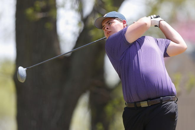 Topeka West's Myles Alonzo tees off on No. 12 at Topeka Country Club Monday during Monday's City Golf Championship. Alonzo won last week's Dodge City Invitational for his first career high school victory.