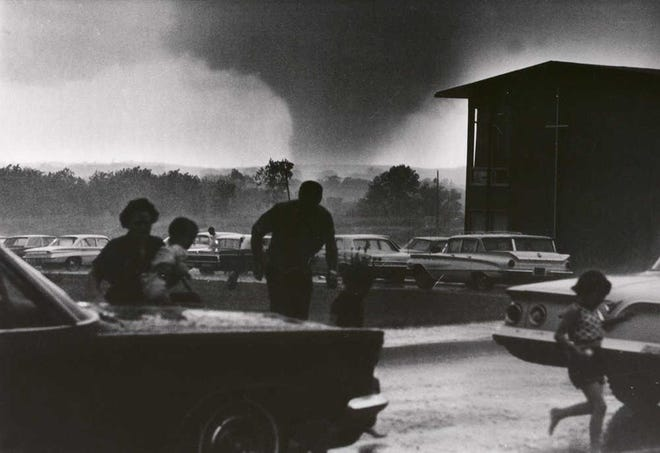 Topeka Capital-Journal photographer Perry Riddle took this photo as a monster tornado bore down upon Topeka on June 8, 1966.