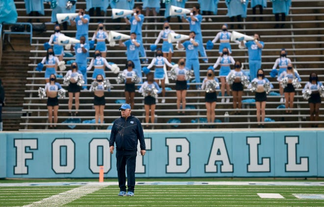 North Carolina football head coach Mack Brown watches the team's spring game on April 24 in Kenan Stadium.