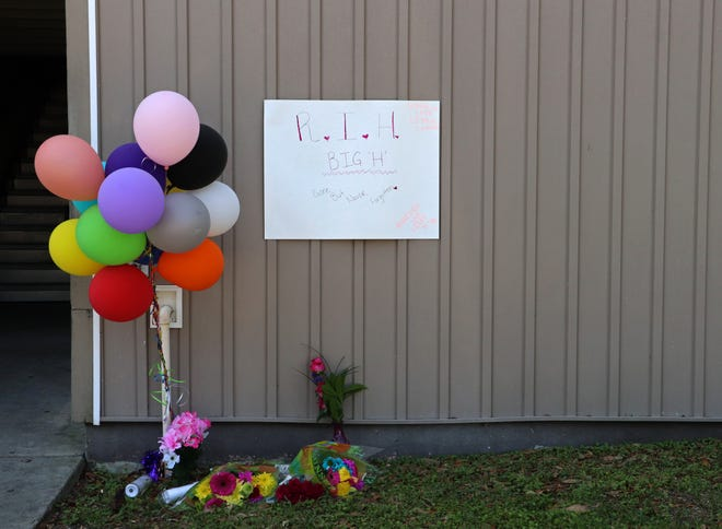 A memorial in honor of Maliyah Godwin, 13, who was shot and killed Friday at the Majestic Oaks Apartments complex, is shown Monday in in Gainesville. [Lauren Witte/Special to the Sun]