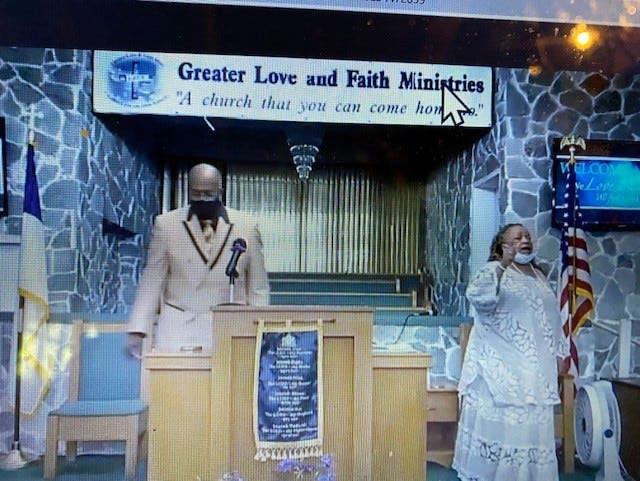 Leaders of Greater Love and Faith Ministries lead the church's Sunday morning worship service held via Facebook Live. From left are Elder Neil Butler, associate pastor of the church, and Pastor Beatrice Kathy Long-Richardson, senior pastor of the church.