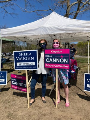 New Kingston School Committee member Megan Cannon joins re-elected Selectman Sheila Vaughn at the polls Saturday.