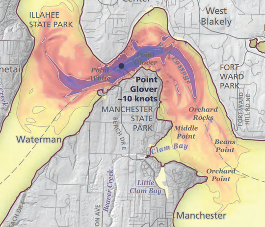 State Department of Natural Resources maps show what a tsunami from a Cascadia Subduction Zone earthquake off Washington's coast could mean for Rich Passage.