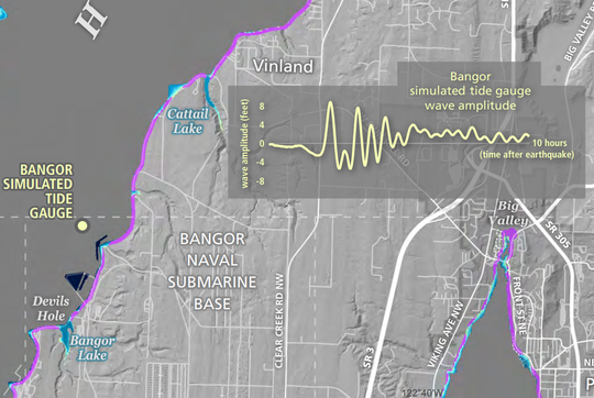 State Department of Natural Resources maps show what a tsunami from a Cascadia Subduction Zone earthquake off Washington's coast could mean for flood levels near Naval Base Kitsap-Bangor.