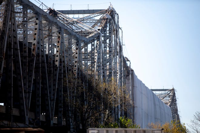 A view of construction work on the Brent Spence Bridge in Cincinnati on Monday, April. 26, 2021.