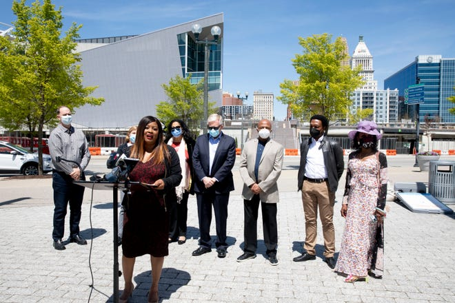 Hamilton County Commissioner Alicia Reese speaks during a press conference where she announced a proposal for a Music Walk Of Fame honoring African American music icons from the region to be placed outside the front entrance of the Andrew J Brady Icon Music Center in Cincinnati, on Monday, April 26, 2021.