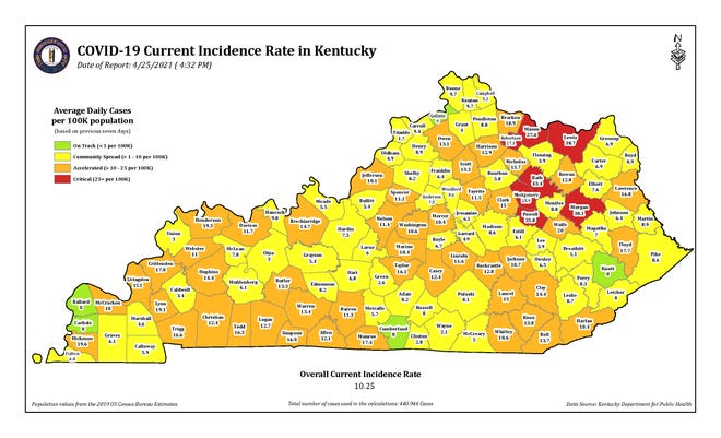 The OOVID-19 current incidence rate map for Kentucky as of Sunday, April 25.
