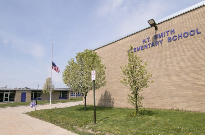 A bond proposal would erect a new building to serve as the elementary school, shown Monday, April 26, 2021, while the current H.T. Smith Elementary School building would contain the district's preschool programs, before- and after-school programs as well as the community recreation department.
