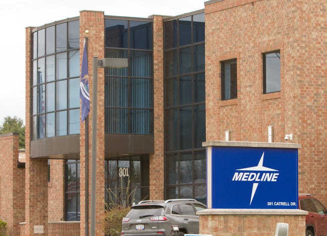 Centurion Medical Products, a subsidiary of Medline, shown Monday, April 26, 2021 in its Howell city location, has been cited with contamination.