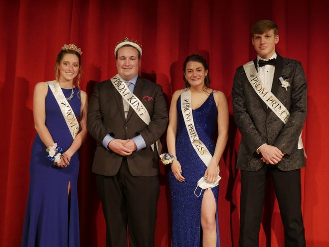 Elgin High School's 2021 Prom Court (L to R): Queen Molly Hafer, King Camden Swartz,  PrincessMikayla Hill and Prince Nate Grim.