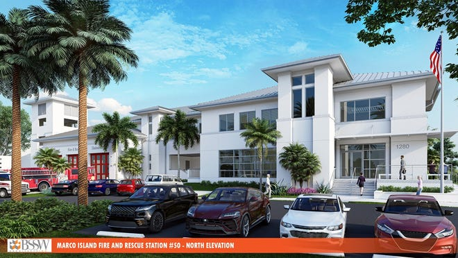 Rendering of Fire Station 50 and emergency center on Marco Island.