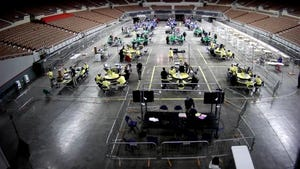 The Arizona Senate's audit of Maricopa County's presidential and U.S. Senate 2020 election continues on April 26, 2021, at the Veterans Memorial Coliseum in Phoenix.