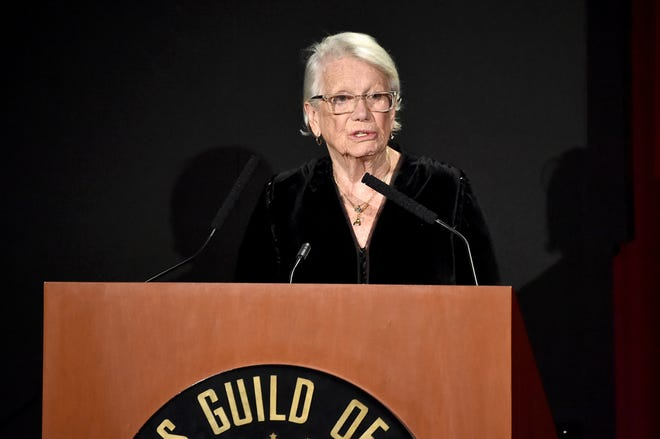 """Ann Roth speaks onstage during the 2018 DGA Honors Show at DGA Theatre on October 18, 2018 in New York City. On Sunday, Roth, a native of Hanover, became the oldest woman to win a competitive Oscar when she won the award for best costume design for her work on """"Ma Rainey's Black Bottom."""" (Theo Wargo/Getty Images for DGA/TNS)"""