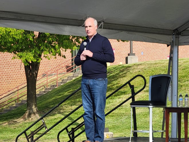 Sen. Bob Casey, D-Pa., speaks at a town hall at Penn State York on Friday, April 23.