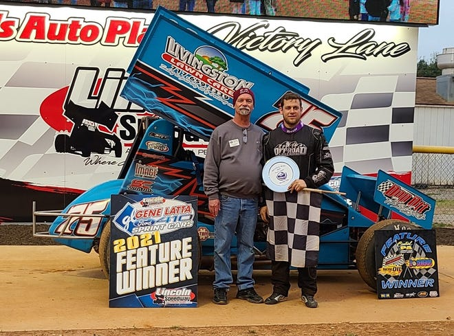 Tyler Ross, right, is seen here following his win Saturday at Lincoln Speedway.