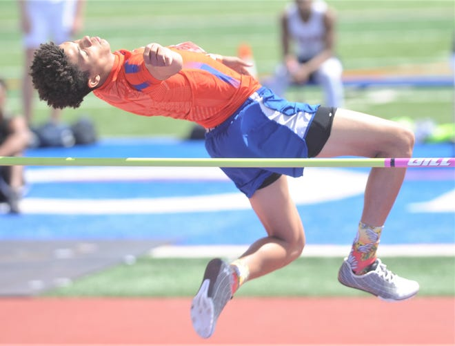 San Angelo Central's Jacob English took third place in the high jump at the Region I-6A Track and Field Meet on Saturday, April 24, 2021.