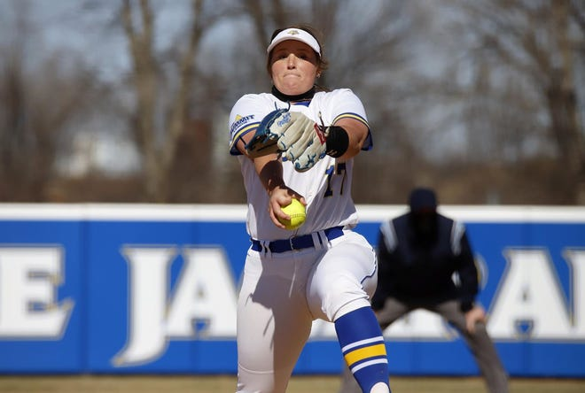 South Dakota State's Tori Kniesche threw a 5-inning no-hitter against USD on Saturday in Brookings
