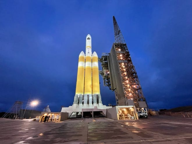 """The launch of the United Launch Alliance Delta IV Heavy rocket from Vandenberg Air Force Base """"appears to be on schedule"""" as of Monday morning."""