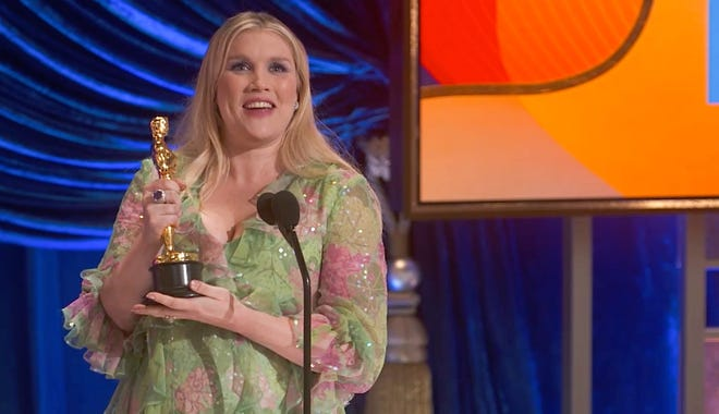 Emerald Fennell wins best original screenplay during the 93rd Academy Awards.
