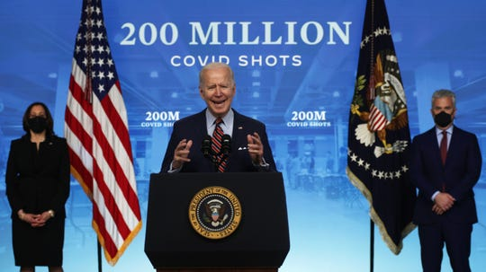 President Joe Biden discusses the national response to COVID-19 on April 21.