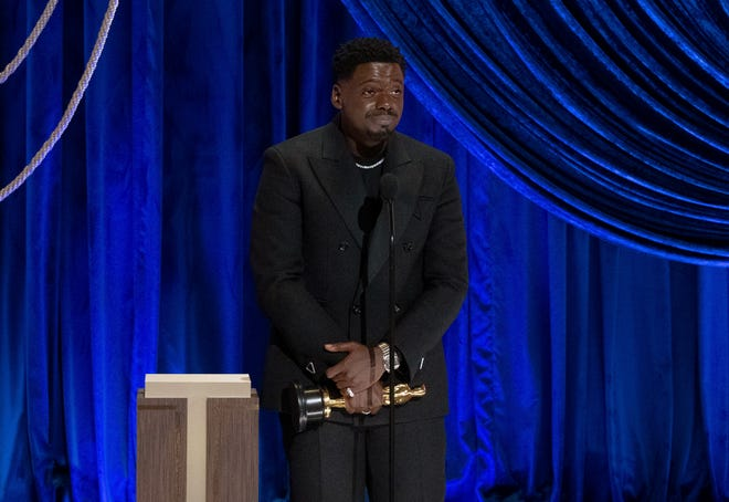 Daniel Kaluuya accepts the best supporting actor award for 'Judas and the Black Messiah' during the Academy Awards on April 25, 2021 in Los Angeles, California.