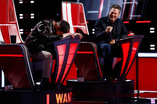 """(L-r) Nick Jonas and Blake Shelton during the Blind Auditions on """"The Voice."""""""