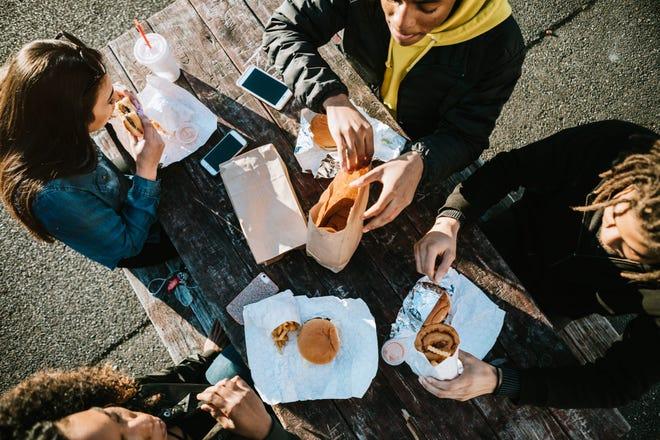 Enjoying a fast food picnic