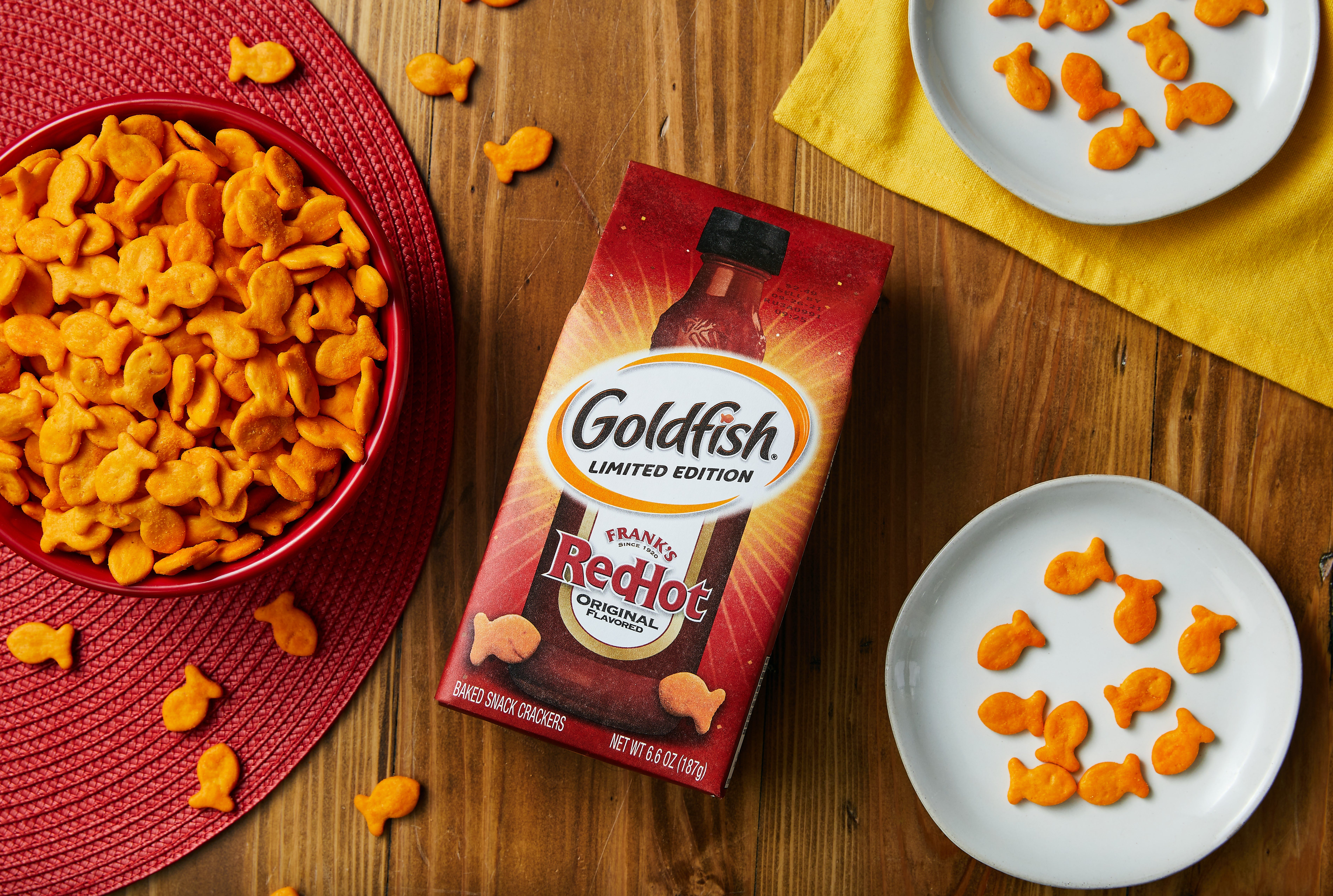 Goldfish teams up with Frank's RedHot for limited-edition spicy crackers. How to win a free bag