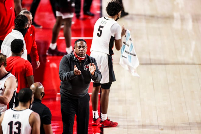 Georgia assistant coach Chad Dollar during a game against Mississippi State at Stegeman Coliseum on Dec. 30, 2020. (Photo by Tony Walsh)