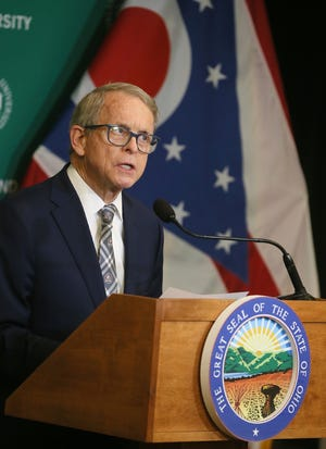 Ohio Governor Mike DeWine stresses the importance of getting vaccinated during a press conference at the Wolstein Center in Cleveland on Tuesday April 27, 2021.