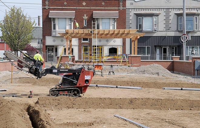 Work on the downtown plaza on East Main Street in Ashland, which will be officially named at a later date continues on Tuesday
