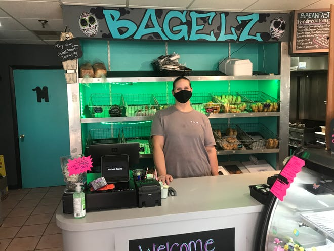 Wicked Bagelz Owner Kimberly Bobrofsky at her counter.