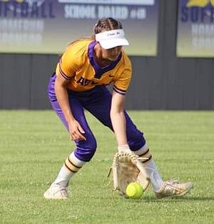 South Beauregard's Jaci Buxton scoops up a ball in the outfield during a game earlier this season. Buxton and the Lady K's fell in the Class 3A quarterfinals on Saturday to top-ranked Grant.