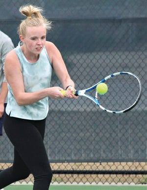 Sam Simmons has mostly played doubles this season for the Bartlesville High girls' tennis team but occupied the No. 2 singles slot during this week's tourney at Claremore.