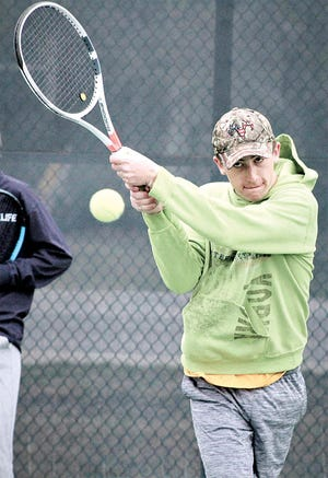 Jesse James is a multi-year varsity standout doubles player for Bartlesville High School's tennis team. (Mike Tupa/Examiner-Enterprise)