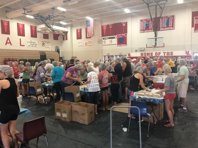 Pictured is the 2019 backpack packing event.
