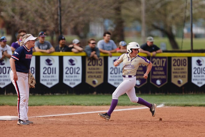Butler's Madi Young (3) rounds third base in Butler's sweep of Hutchinson Community College on Monday, April 26 at East Park in El Dorado, Kansas