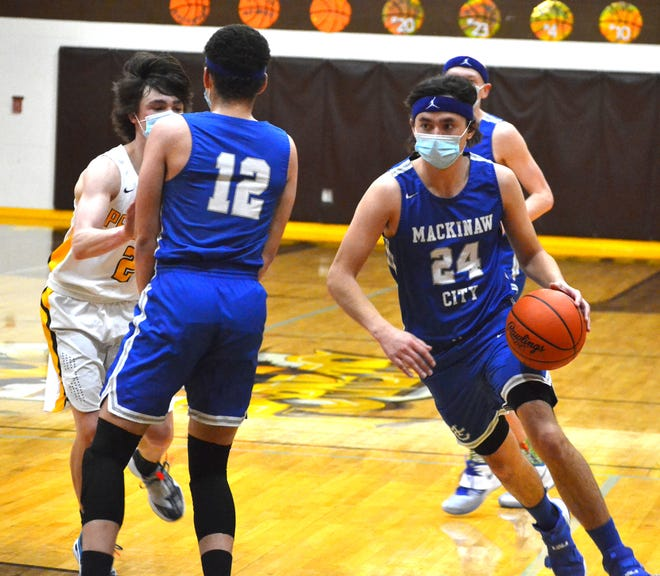 Mackinaw City's Kal O'Brien (24) earned a spot on the Associated Press' Division 4 All-State boys basketball team following a stellar senior campaign.