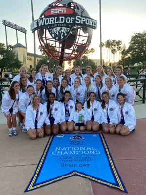Vandebilt cheerleaders pose for a photo after winning the national championship in Orlando, Fla.