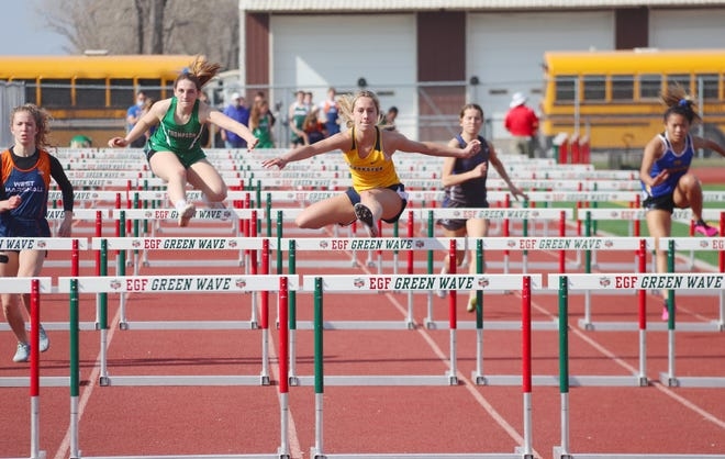 Breanna Kressin runs the 100-meter hurdles at a meet on April 27. Kressin finished first in the hurdles at the Quentin Jones Invitational in Thief River Falls on Tuesday.