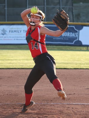 Caldwell High's Madi Mumaw prepares to release a pitch during Monday's OVAC Class 2A softball semi-final match-up with Toronto.